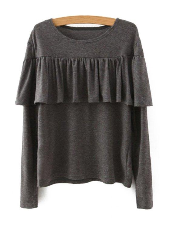 women's Tassels Spliced Long Sleeve T-Shirt - KHAKI M