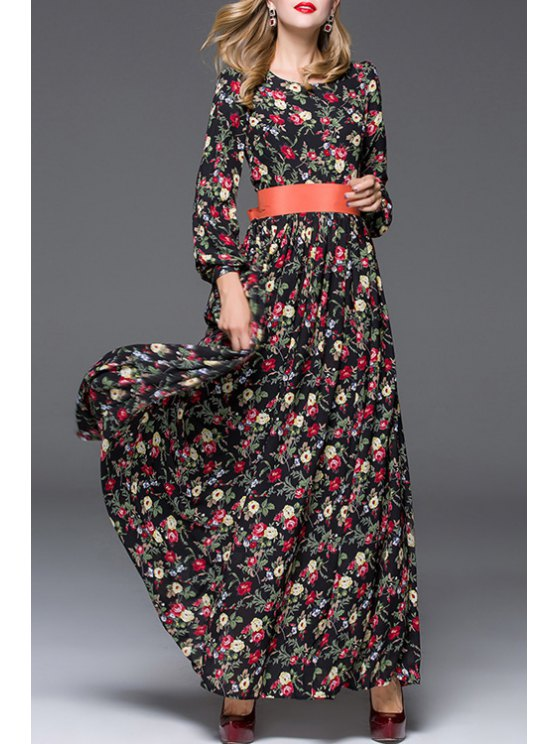 sale Long Sleeve Floral Print Prom Dress - AS THE PICTURE S