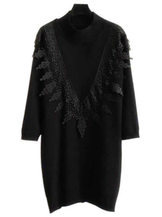 unique Lace Spliced Stand Neck Long Sleeve Jumper - BLACK ONE SIZE(FIT SIZE XS TO M)