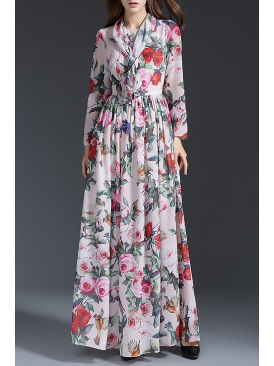 fashion Long Sleeve Rose Print Prom Dress - WHITE S