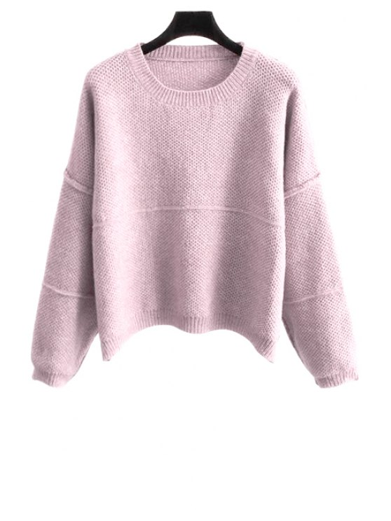 ladies Pure Color Scoop Collar Long Sleeves Jumper - PINK ONE SIZE(FIT SIZE XS TO M)