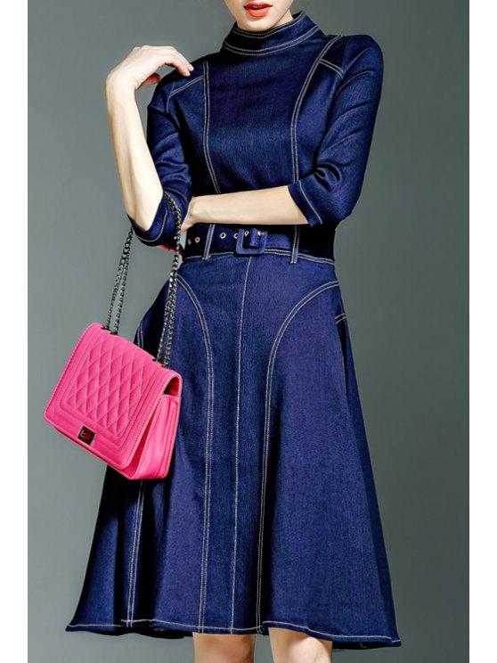lady Solid Color Waisted Half Sleeves Denim Dress - DEEP BLUE S