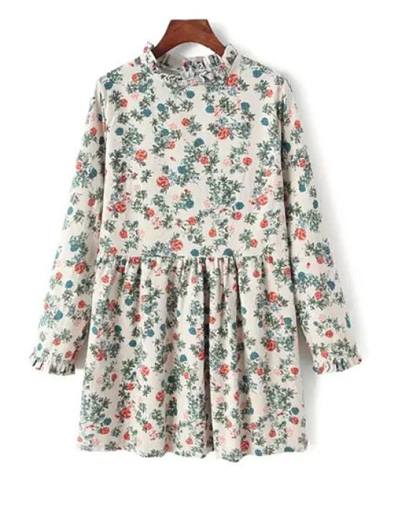 outfit Tiny Floral Stand Neck Long Sleeve Dress - MILK WHITE ONE SIZE(FIT SIZE XS TO M)