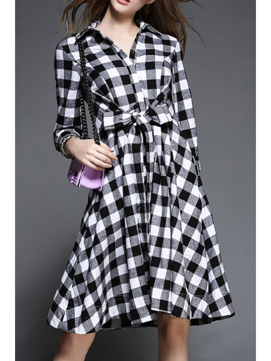 hot Plaid Drawstring Flat Collar 3/4 Sleeves Shirt Dress - WHITE S
