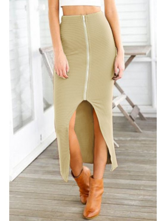 latest Zipper Slit High Waisted Skirt - KHAKI ONE SIZE(FIT SIZE XS TO M)