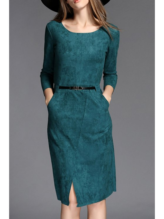 new Solid Color Front Slit Suede Slimming Round Collar Dress - GREEN S
