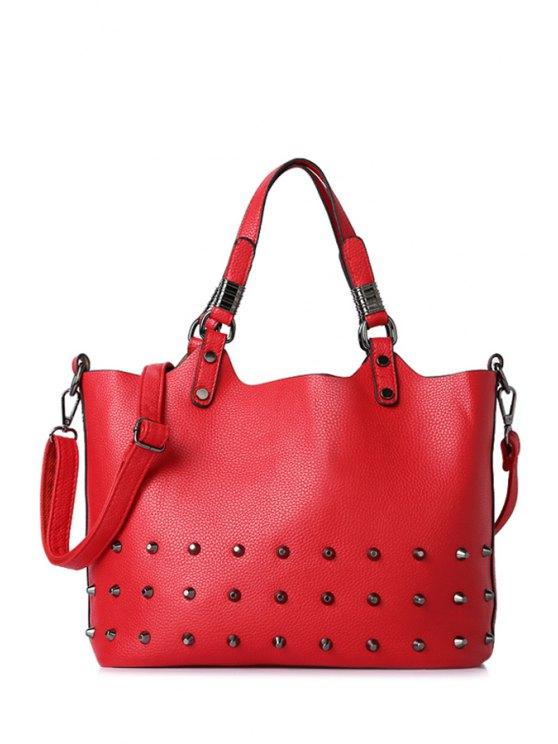women Rivet Embossing Red Tote Bag - RED