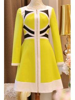 Color Block High Waisted Dress - Yellow Xl