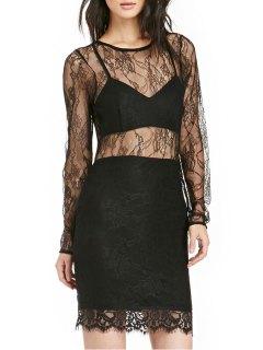 See-Through Long Sleeve Dress - Black 2xl
