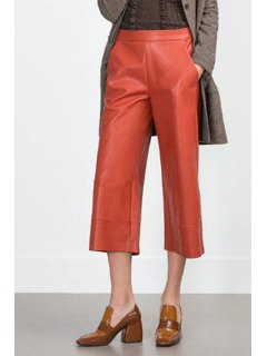 PU Leather Orange Spliced 3/4 Palazzo Pants - Orange M