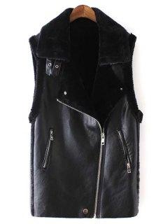 Black Turn-Down Collar Faux Fur PU Leather Waistcoat - Black M