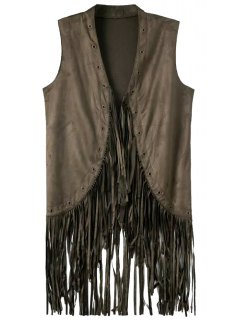 Pure Color Tassels Stand Neck Waistcoat - Smoky Gray L
