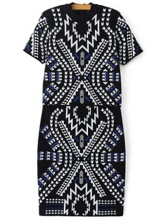 Geometric Pattern Short Sleeve Sweater And Skirt Suit - Black M
