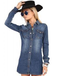 Pocket Denim Flat Collar Long Sleeves Shirt Dress - Blue Xs