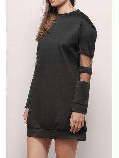 Voile Splicing Round Collar Long Sleeves Sweatshirt Dress - Black 2xl