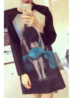 Figure Print Jewel Neck Long Sleeve Dress - Black L