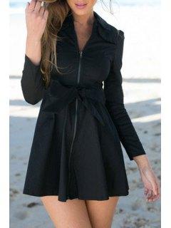 Bowknot Turn Down Collar Long Sleeve Trench Coat - Black M