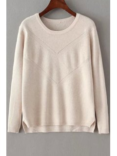 Solid Color Crochet Flower Long Sleeves Pullover Sweater - Off-white