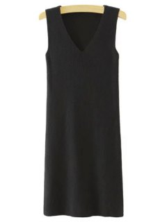 Sleeveless Pure Color V-Neck Knitted Sweater Dress - Black L