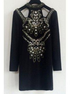 Diamante Round Collar Long Sleeves Black Cut Out Dress - Black M