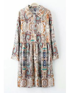 Floral Print Button Flat Collar Long Sleeves Dress - L