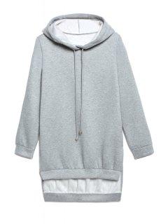 Hooded High Low Grey Hoodie - Gray S