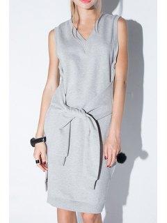 Solid Color V-Neck Sleeveless Side Slit Dress - Gray 2xl