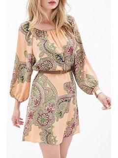 Ethnic Print 3/4 Sleeves Dress - Orangepink Xl