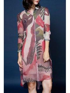 Abstract Print Shirt Neck Long Sleeve Dress - Red Xl