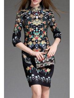 Jewel Print Stand Neck 3/4 Sleeve Dress - Black M