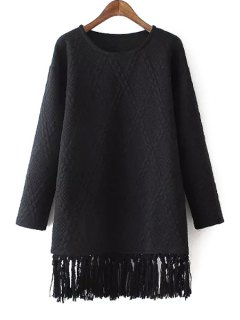Solid Color Argyle Pattern Round Color Long Sleeves Dress - Black L