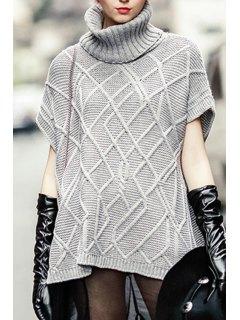 Turtleneck Cable Knit Side Slit Sweater - Gray M