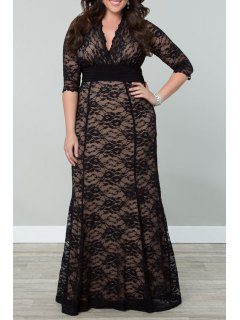 Solid Color Half Sleeves V-Neck Plus-Sized Lace Dress - Black 2xl