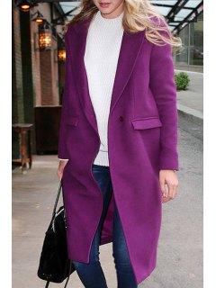 Lapel Pocket Design Purple Wool Coat - Purple S