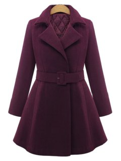Pure Color Lapel Long Sleeve A Line Coat - Wine Red 4xl