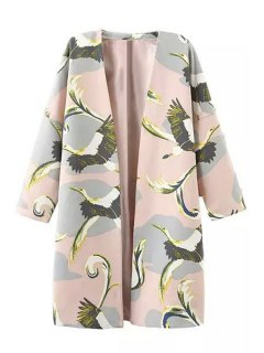 3/4 Sleeve Bird Print Trench Coat - Pink S