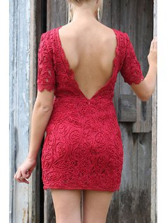 Lace Backless Round Neck Short Sleeve Dress - Red M