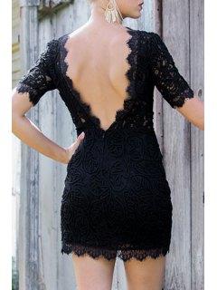 Lace Backless Round Neck Short Sleeve Dress - Black S