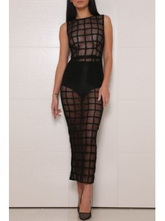 Checked See-Through Sleeveless Dress - Black L