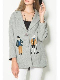 Cartoon Print Lapel Collar Long Sleeves Cute Coat - Light Gray Xs