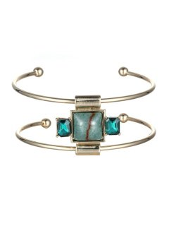 Faux Gemstone Square Double-Layered Cuff Bracelet - Champagne Gold