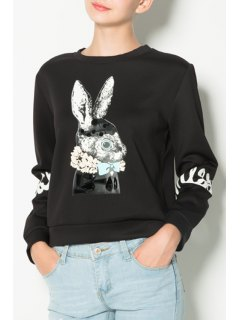 Cartoon Print Round Collar Long Sleeves Black Sweatshirt - Black 2xl