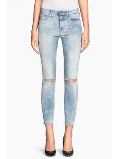 Bleach Wash Ripped Pencil Jeans - Blue M