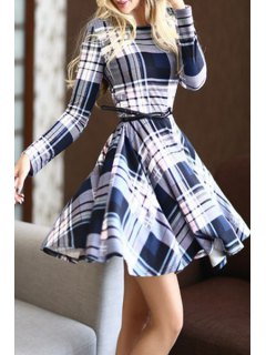 Long Sleeve Plaid Cocktail Dress - Gray And White And Blue S