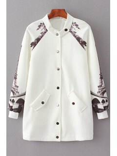 Printed Baseball Stand Collar Long Sleeves Coat - White S