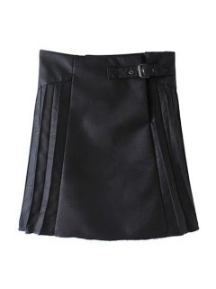 PU Leather Pleated Solid Color Skirt - Black L