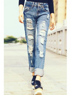 Hole Straight Leg Ripped Jeans - Royal Blue L