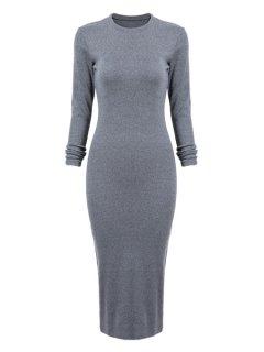 Gray Long Sleeve Bodycon Dress - Blue Gray L
