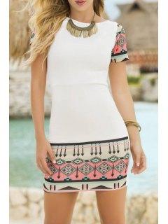 Short Sleeve Printed Bodycon Dress - White M