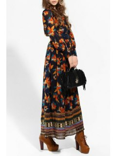 Single-Breasted Leaf Print Dress - Purplish Blue L